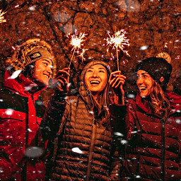 freetoedit snow sparklers friends people