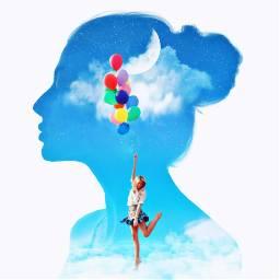 floating balloons silhouette moon freetoedit ircelegantsilhouette