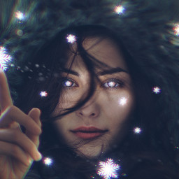 freetoedit woman hand snowflakes magicbrush