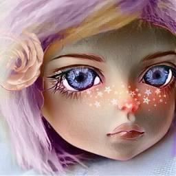 freetoedit doll blush flower blueeyes