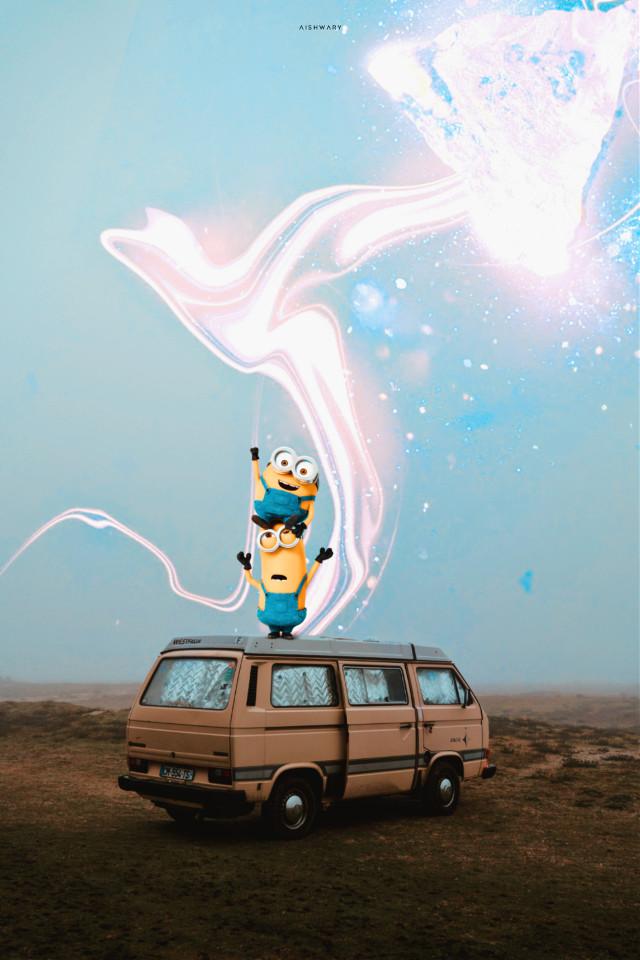 No I am not a fan of minions  #siwap#minion#van#stars#surreal#manipulation#minions#yellow #freetoedit