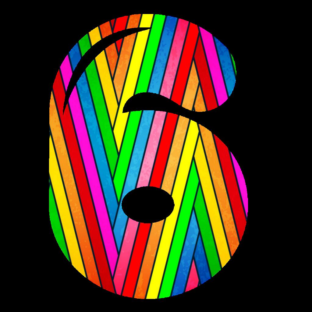 #numbers #neon #6 #rainbow