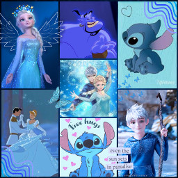 freetoedit blue blu disney elsa jackfrost stich cenerentola collage