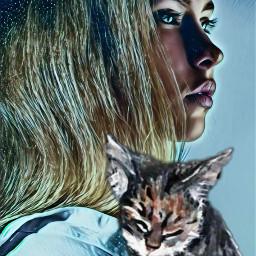freetoedit woman cat animallove petlove