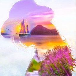 freetoedit woman portrait doubleexposure landscape