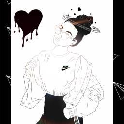 picsart beautiful black nike freetoedit ircoutlineart outlineart