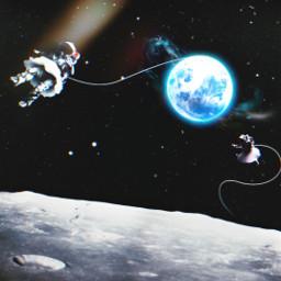 astronaut universe galaxy moon flying freetoedit