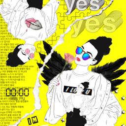 yellow blackandwhite black love art ircoutlineart freetoedit