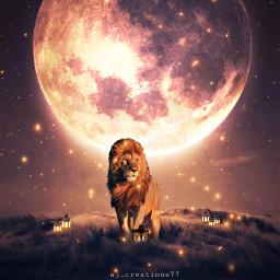 lion firefly moon editedbyme edit madewithpicsart lamp
