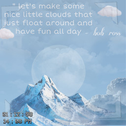 bobross blue sky moon freetoedit
