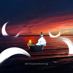 freetoedit moon boat lonely ocean