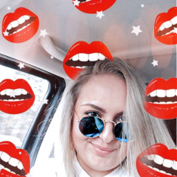 lips red editedwithpicsart stars selfie freetoedit