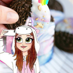 freetoedit girl rainbow unicorn oreo