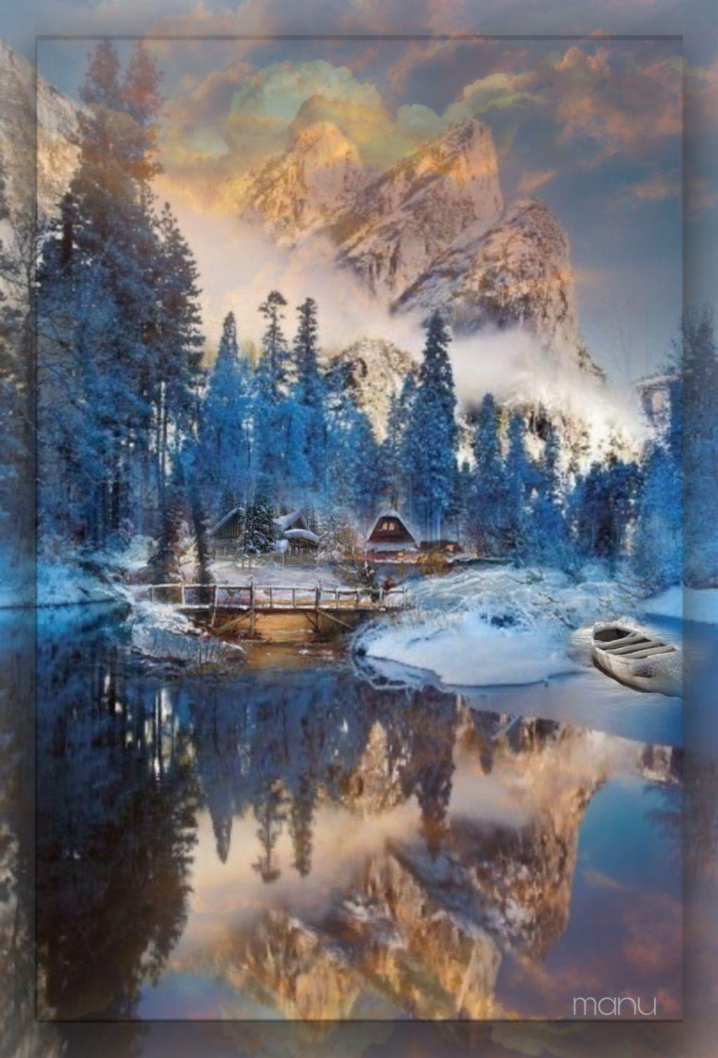 #freetoedit #myedit #landscape #winter #sky #doubleexposure #reflexex #mountains #country #boat #fantasy #imagination #