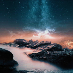 freetoedit nature sky stars cliff