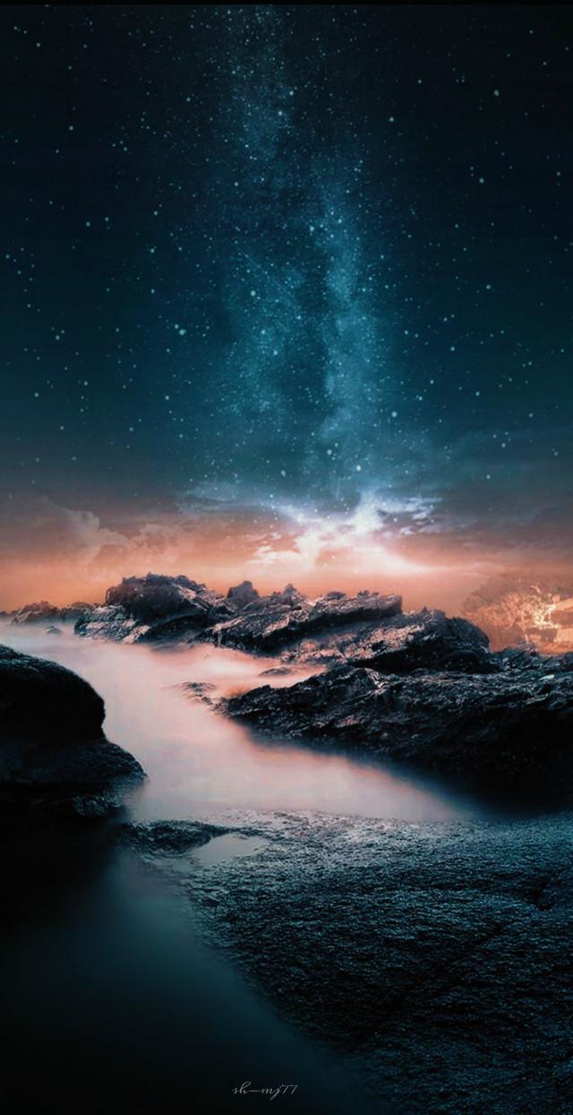 #freetoedit#nature#sky#stars#cliff#rocks #be_creative#MV5effect