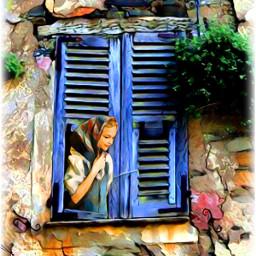 freetoedit oldhouse stone window girl