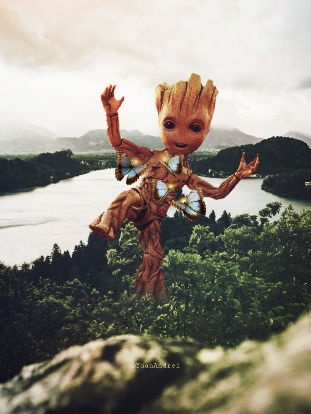 I remixed one of my son's artwork. 😊Please visit his gallery 🥰😊 he also loves picsart @yuan_andrei andrei #freetoedit #supportive #son #yuanandrei #fantasy #groot