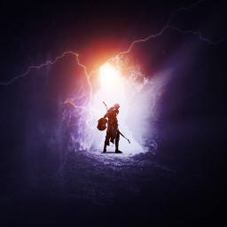 freetoedit lightning cave warrior man