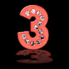 numbers neon glow number 3 freetoedit