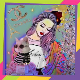 freetoedit chanel girl cat mask ircoutlineart outlineart