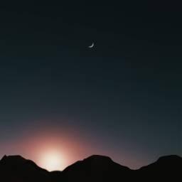 sky mountain mountains moon night freetoedit