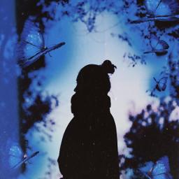 freetoedit girl butterfly sweater trees