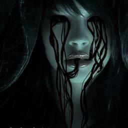 freetoedit woman slime darkeyes scary