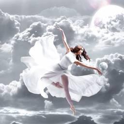 freetoedit fantasy art girl clouds