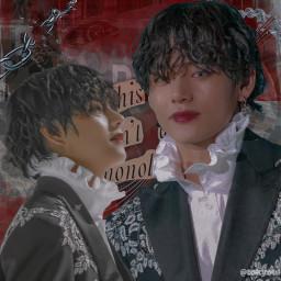 kimtaehyung v bts red grey