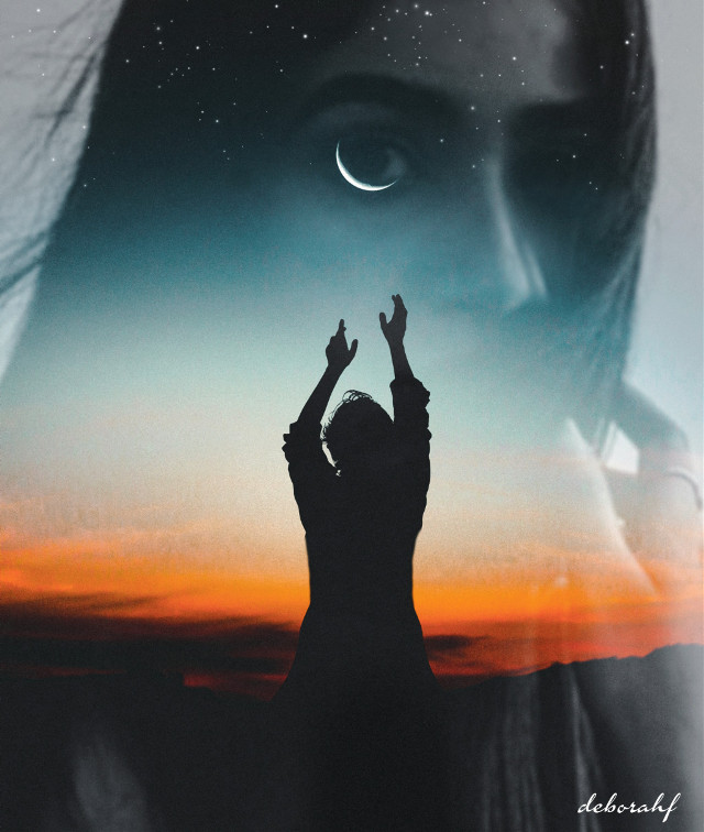 """""""Lady of the night"""" #doubleexposure #night #sky #moon #people #woman #face #silhouette"""