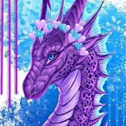 freetoedit heart dragon violet blue