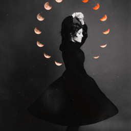 freetoedit woman doubleexposure moon mooncycle scratches