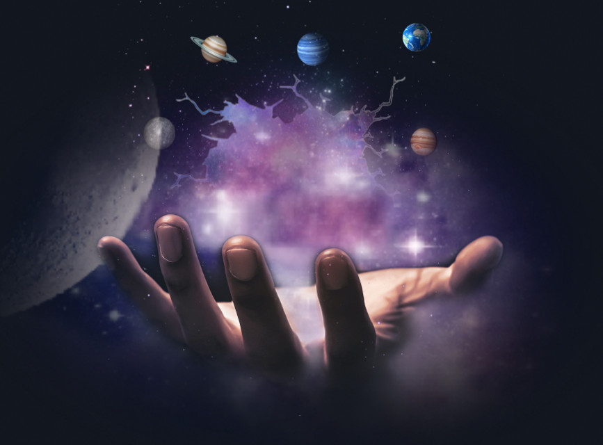 #freetoedit #universe #galaxy #moon #hand #magic #pink #blue #purple #saturnus #neptunes #earth