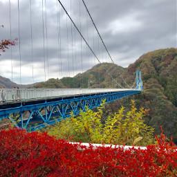 bridge autumn valley japan breathtakingviews pcbreathtakingviews