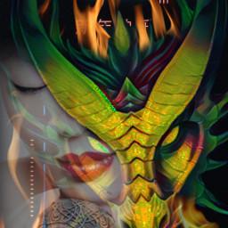freetoedit asianwomen dragon fire flames ircchinesenewyear