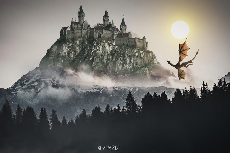 . . . . . . . .      #freetoedit #vipaziz #palace #Mountain #clouds #dragon #Jungle  #smoke #fog #sun #MiddleAges #old    .