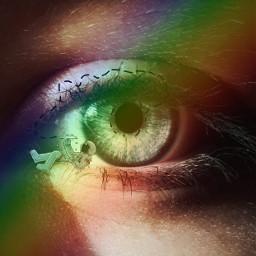 ojo astronaut arcoiris freetoedit