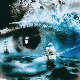 freetoedit fantasyart eyes waves ship ircmysteriouseye