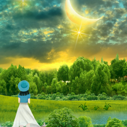 freetoedit landscape scenery pond girl
