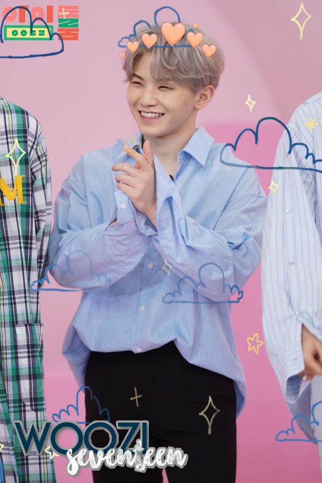 #woozi #kpop #seventeen #clouds #hearts #heartcrown #svt #Jihoon #LeeJihoon #cute #blue #yellow #smol