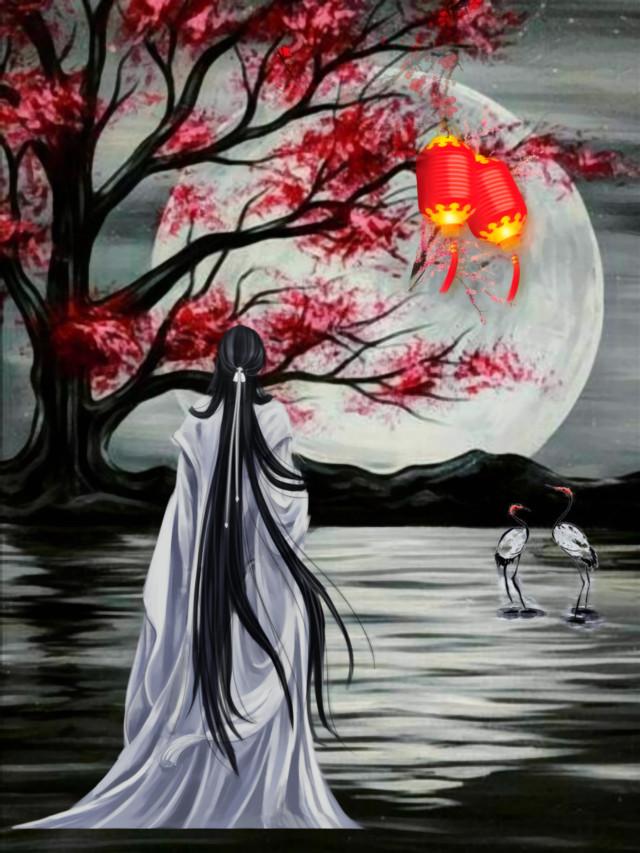#freetoedit #pond #cranes #nighttime #moonlight #asian #china #ancienttimes #lanterns  #blackandwhite #colorsplash #oilpaintingeffect #filter #myedit #madewithpicsart