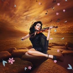 freetoedit madewithpicsart woman violin