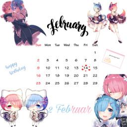 freetoedit rem&ram remxram rezero happybirthday srcfebruarycalendar februarycalendar