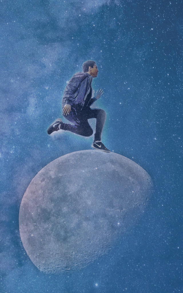 Jumping over the moon.. ☝️🎆 Sorry i've been inactive recently! I hope this is a good one...   Catch everone later..   #myedit #moon #surreal #cool #interesting #moons #man #jump #jumphigh #jumping #wow #galaxy #space #newuser  #freetoedit