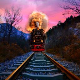 freetoedit background train traintracks cloudsandsky