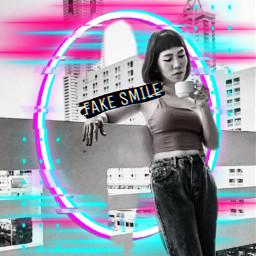 freetoedit girl fakesmile