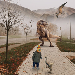freetoedit replay dinosaur babyboy fog scary scaryedit
