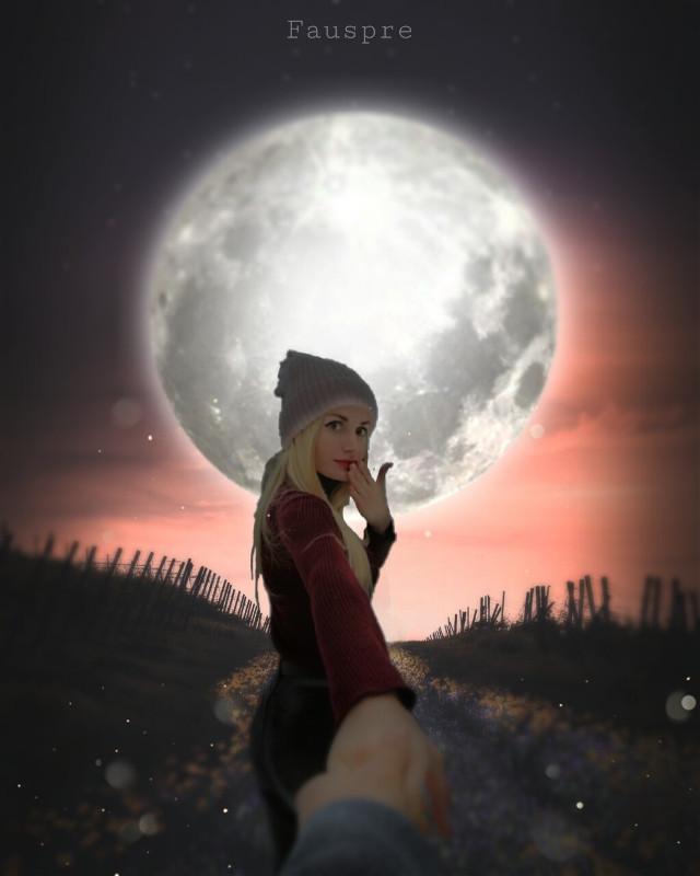 Y no hice mas que seguirla... 22h00 #moonlight  #moon  #nightforest  #nigth  #fauspre  #madewithpicsart  #pacpix #myedits  #editbyme  #she  #woman  #love  #freetoedit