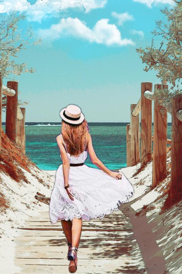 #freetoedit #beach #pathway #woman #walking #watercoloreffect #keepitsimple #myedit #madewithpicsart